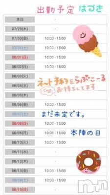 新潟ソープ 本陣(ホンジン) はづき(28)の7月28日写メブログ「8月前半の予定だよ!!」