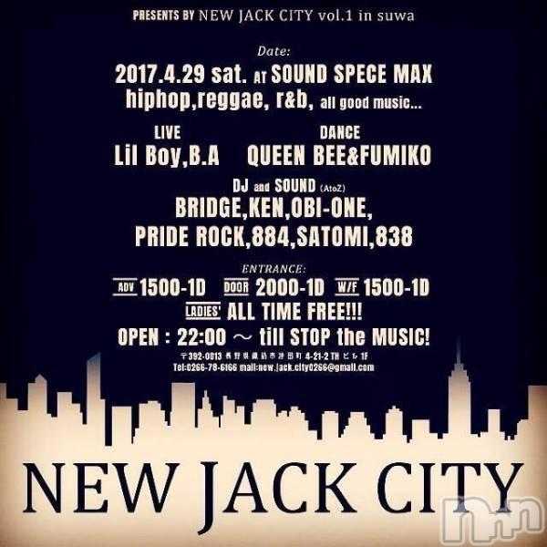 諏訪その他業種SOUND SPACE MAX (サウンドスペースマックス) N J Cの4月19日写メブログ「4.29 (SAT)【NEW JACK CITY】」